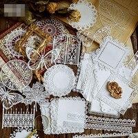 Papel de encaje calado para decoración, pegatina para álbum de recortes DIY, pegatinas de papelería, mariposa, flor, ventana, encaje Retro, 10 Uds.