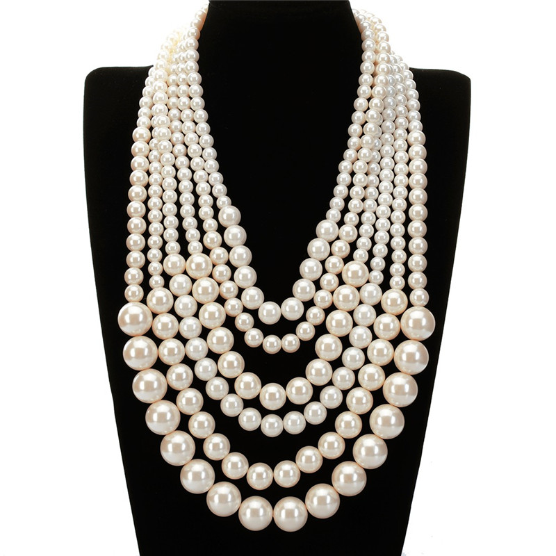 JEROLLIN Elegancia Golden BBC Bead White Pearl 6 Cadena Colgante 7 Colores Collar Mulitilayer Collares Declaración Mujeres Jewerly
