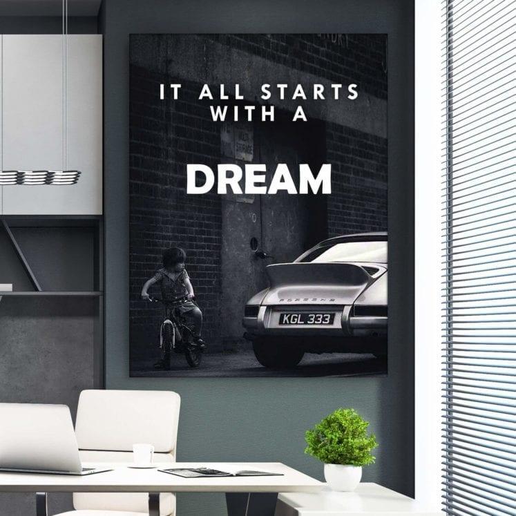 Украшение для дома плакат черно-белый он начинается с мечты Холст Картина комната декор стен художественные принты без рамки