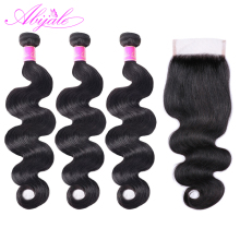Abijale Body-Wave-Bundles Closure Brazilian-Hair Remy with Weave