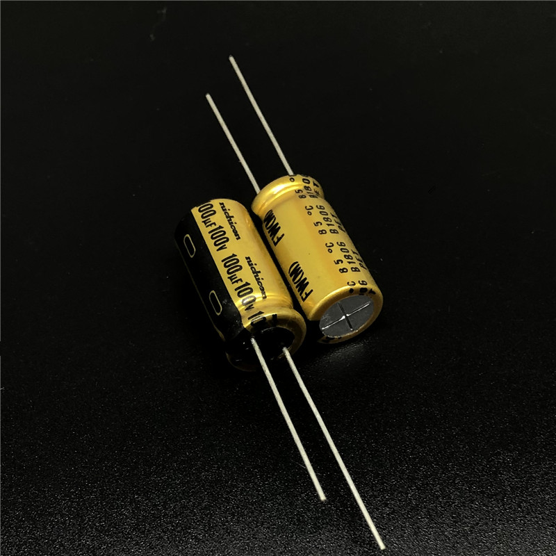 5pcs/20pcs <font><b>100uF</b></font> 100V NICHICON FW Series 10x20mm 100V100uF <font><b>Audio</b></font> Capacitor HiFi DIY image