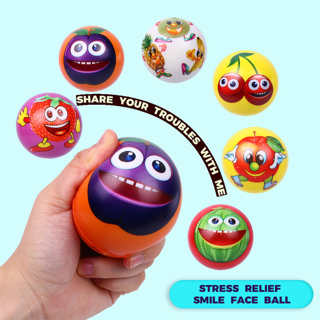 6Pcs Fruit Smile Face Anti Stress Relief Slow Rising Ball Hand Wrist Exercise Antistress Anxiety Children Gift Toy  L0117