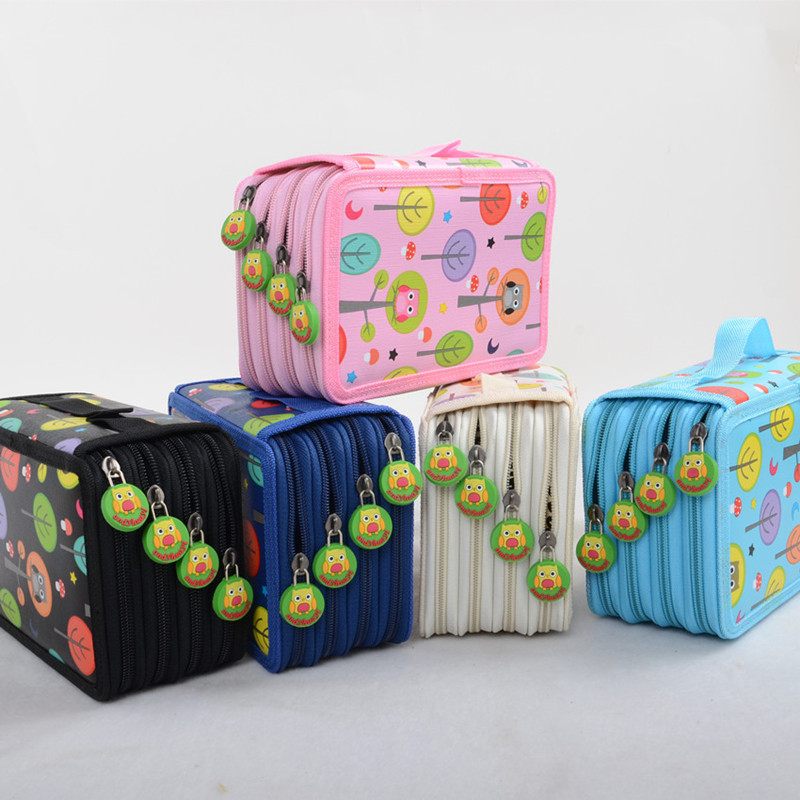 Школьный пенал с 72 отверстиями, симпатичная ручка-сова, коробка для девочек и мальчиков, сумка-картридж, каваи, большой футляр для хранения, Канцелярский набор