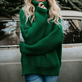 2021 Women Pullover Turtle Neck Autumn Winter Clothes Warm Knitted Oversized Turtleneck Sweater For Women's Green Tops Woman image