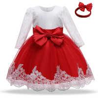 Vestido de Navidad de manga larga para niña, ropa de fiesta de año nuevo, vestido de bautizo para niña pequeña de 0 a 2T, trajes de cumpleaños para niña pequeña