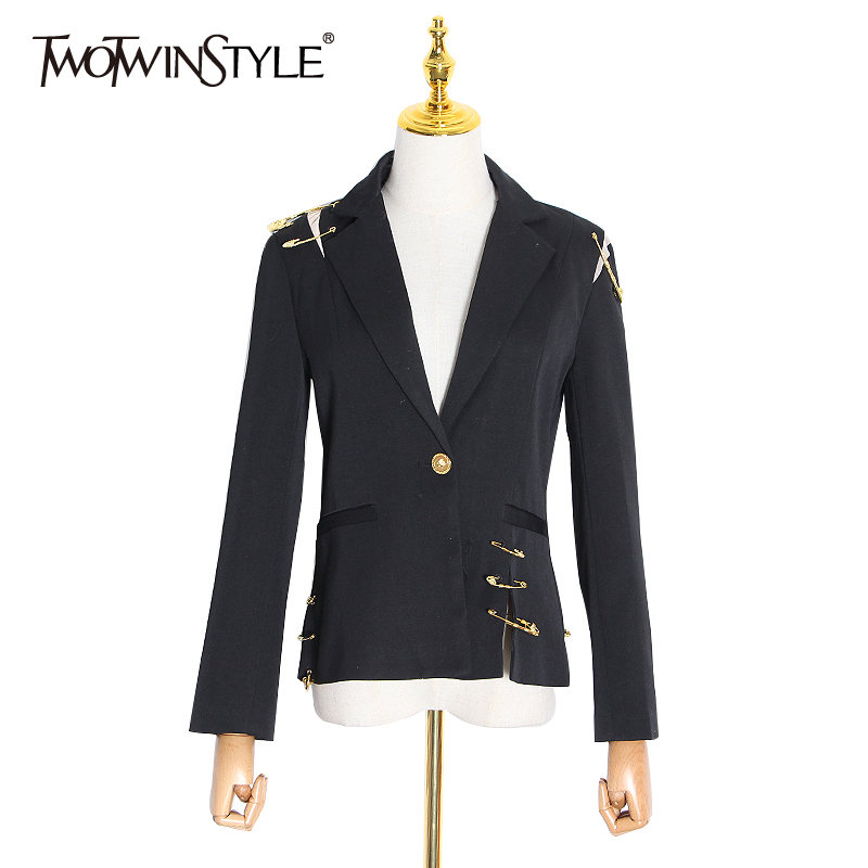 TWOTWINSTYLE Hollow Out Patchwork Pins Women Blazer Notched Long Sleeve Tunic Elegant Female Suits Clothing 2020 Fashion Tide