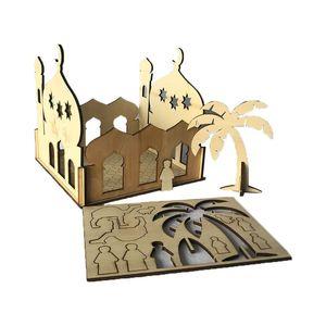 Image 4 - Drop Shipping Wooden Eid Mubarak Ramadan Home Party Ornament Decor Muslim Islamic Palace Puzzle Storage Box Gift DIY