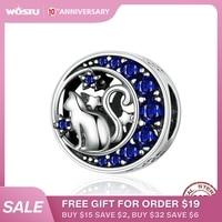 WOSTU lune & étoile mignon chat perles 925 argent Sterling bleu émail breloque pour Original bricolage Bracelet pendentif fabrication de bijoux CQC1204