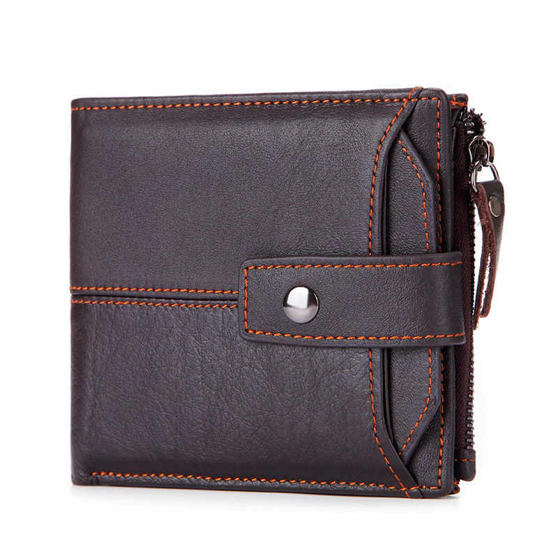 Men Cowhide Leather Wallet Male Short Leather Purse High Quality Coin Bag Wallet With Removable Card Holder Purse