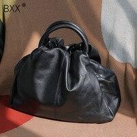 [BXX]Genuine Leather Crossbody Bags For Women 2020 Spring New Pleated Shoulder Messenger Shell Bag Female Travel Handbags HK900