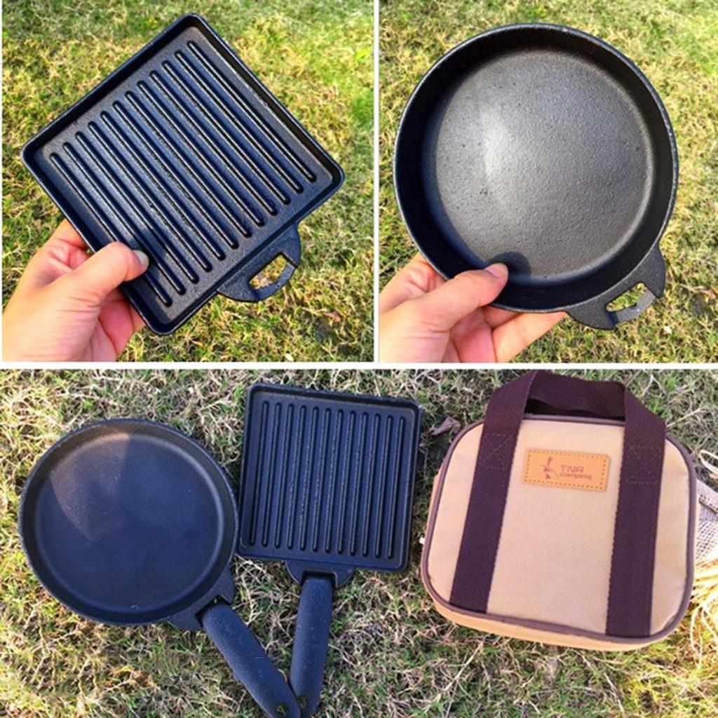 2 pcs set ferro fundido pequeno acampamento cozinhar bife frigideira destacavel e carry case tanto para