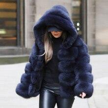 Зимнее плотное теплое пальто из искусственного меха для женщин; большие размеры 6XL; куртка с капюшоном и длинным рукавом из искусственного лисьего меха; Роскошные зимние меховые пальто