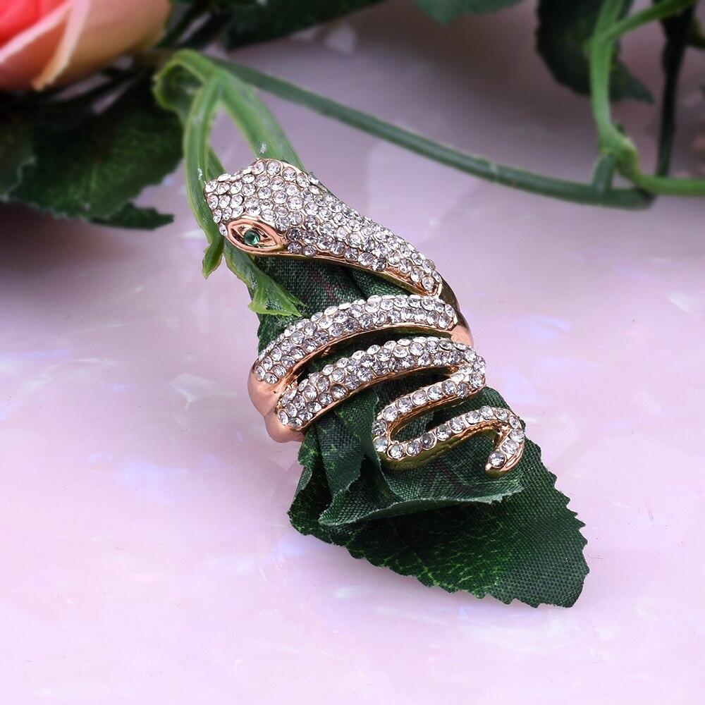 Wholesale women rings Fashion Snake ring female Gold alloy metal handmade rhinestone ring Animal Jewelry Initial ring Men rings