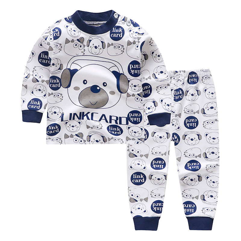 2020 Cartoon Print Baby Girls Boys Winte Pajamas Sets Cotton Kids Sleepwear Autumn Girls High Waist Long Sleeve Tops+Pants 2pcs