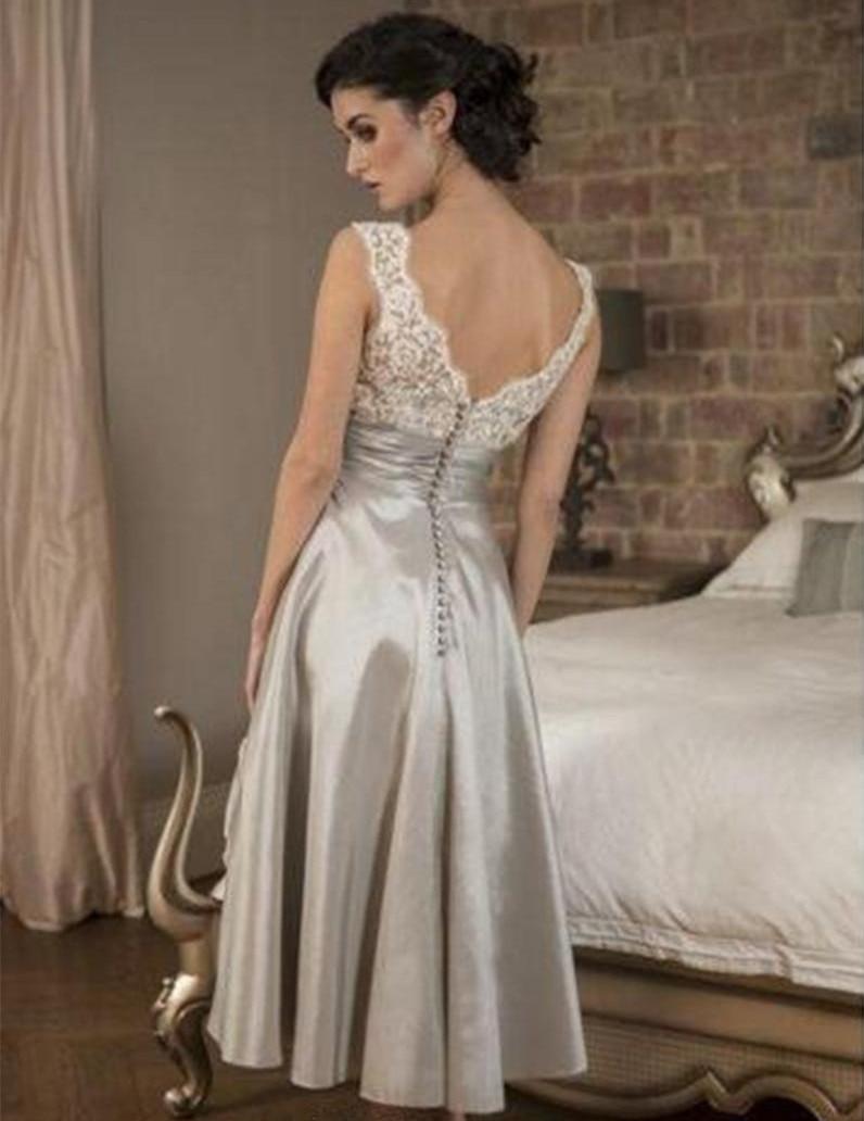 Elegant V-neck Lace Tops Mother Dress Tea Length Taffeta Formal Evening Gown