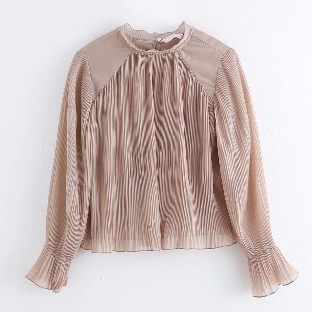 2020 New Women Fashion Solid Color Casual Pleated Smock Blouses Office Lady Long Sleeve Shirt Chic Chiffon Femininas Tops LS6249