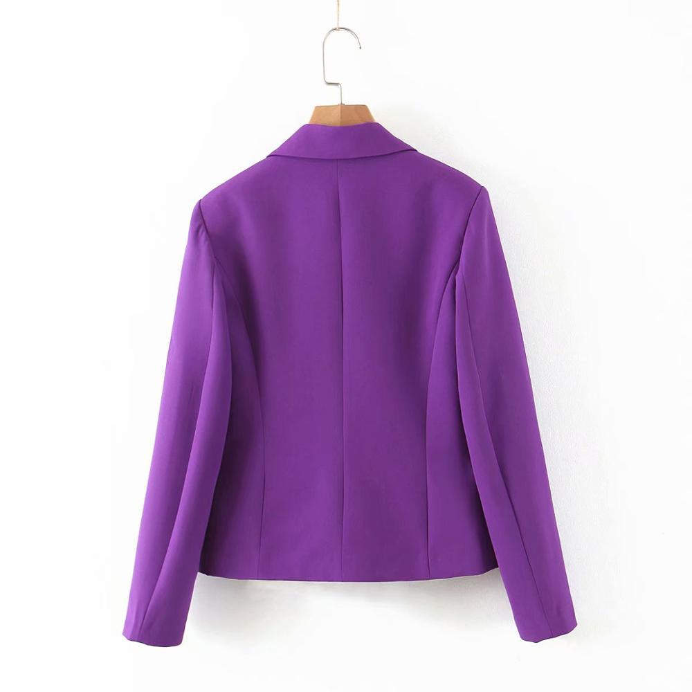 ZA Women Blazer with Double Breasted Pocket Long Sleeve Purple Jacket Coat Femme Casual Loose High Street Fashion Outwear Blazer