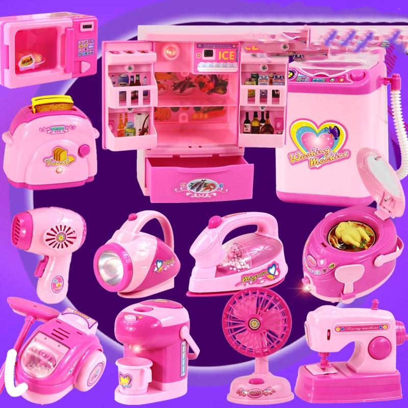 Children's Mini Kitchen Set Girl Simulation Play Home Small Appliances Toys Refrigerator Washing Machine Furniture Supplies