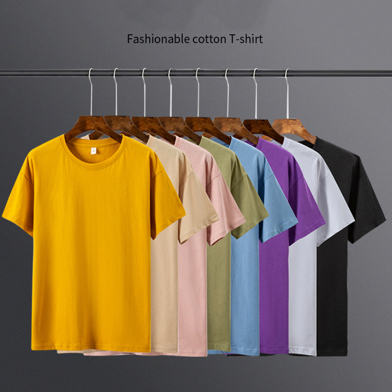 2020 Men's   T     Shirt   8 Basic Colors Short Sleeve Slim   T  -  shirt   Young Men Pure Color Tee   Shirt   3XL Size round Neck Top Tee Causal