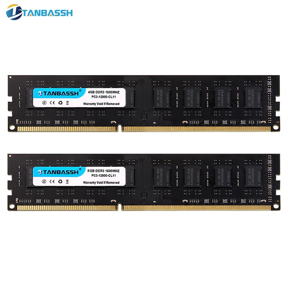 DDR3 RAM 4 GB/8 GB 1333 MHZ/1600 MHz Módulo de Memória DIMM 240pin 1.5 V de Desktop Intel /AMD TANBASSH