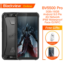 """Blackview BV5500 برو الأصلي IP68 مقاوم للماء 5.5 """"هاتف ذكي متين 4400mAh 3GB + 16GB أندرويد 9.0 Pie 4G في الهواء الطلق الهاتف المحمول"""