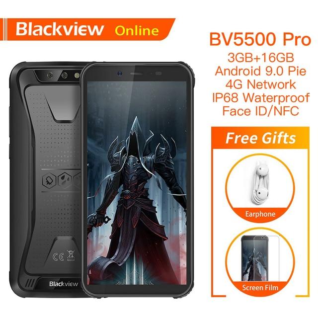 "Blackview BV5500 Pro Originale IP68 Impermeabile 5.5 ""Rugged Smartphone 4400mAh 3GB + 16GB Android 9.0 Torta 4G Telefono Cellulare Allaperto"