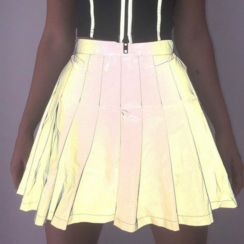 Women Punk Night Club Reflective Skirt Autumn High Waist  Pleated Dance Show Clubwear  A-Line Skirts Christmas Halloween