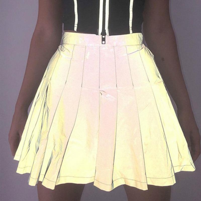 Women Punk Night Club Reflective Skirt Autumn High Waist  Pleated Dance Show Clubwear  A-Line Skirts Christmas Halloween