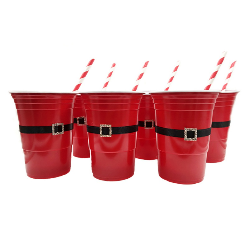 6PCS/SET Household Christmas Party <font><b>Beer</b></font> Pong Red Solo <font><b>Cup</b></font> Santa Claus Game <font><b>Cup</b></font> Party Straw Christmas Party Game <font><b>Cup</b></font> <font><b>Plastic</b></font> <font><b>Cup</b></font> image