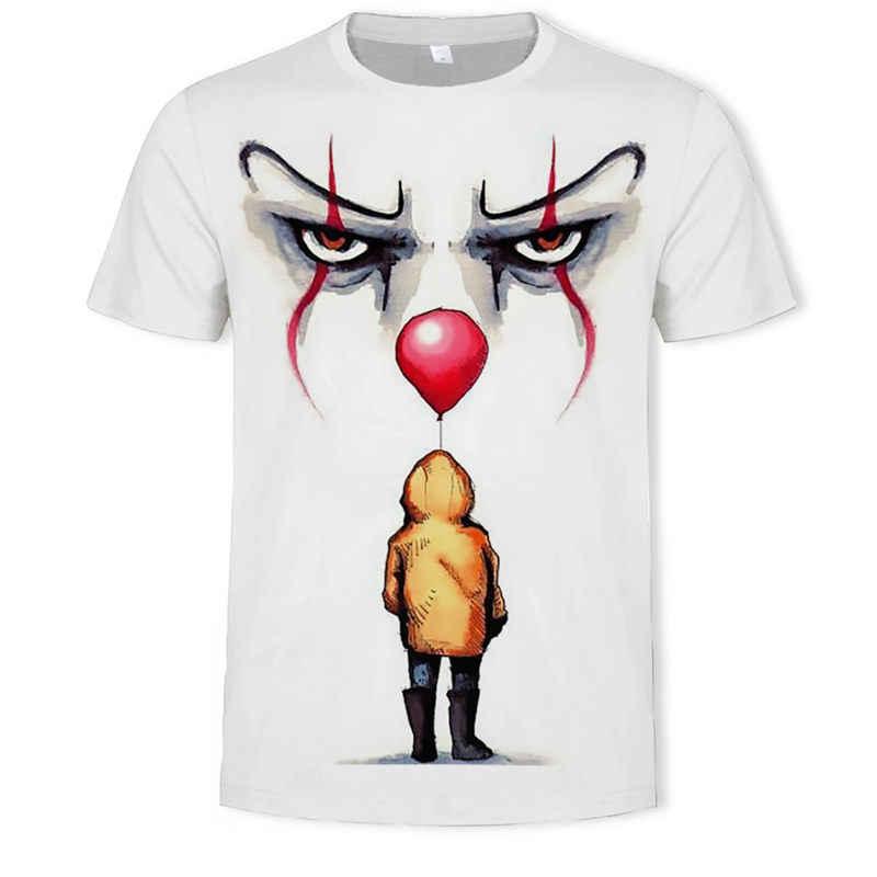それ映画メンズ夏の Tシャツメンズのスティーブン王プリントハロウィン pennywise それカスタム高品質ピエロトップス男性 tシャツ