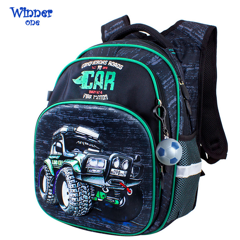 Winner One School Backpack Boys Orthopedic School Bags 3D Cartoon Car Knapsack Children Backpack Primary School Kids Satchels
