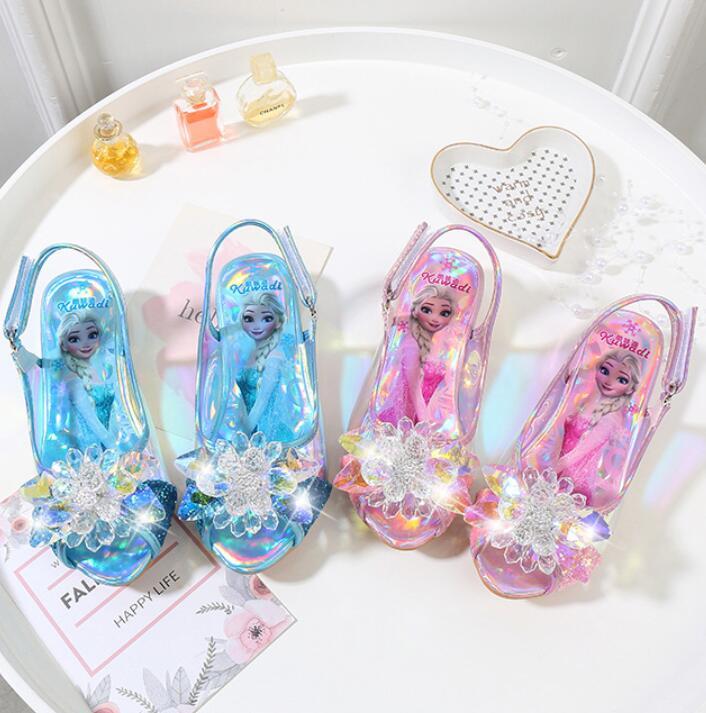girls Sandals Rhinestone pink Latin dance shoes children summer high Heel Princess shoes kids Elsa sandal girls performance shoe