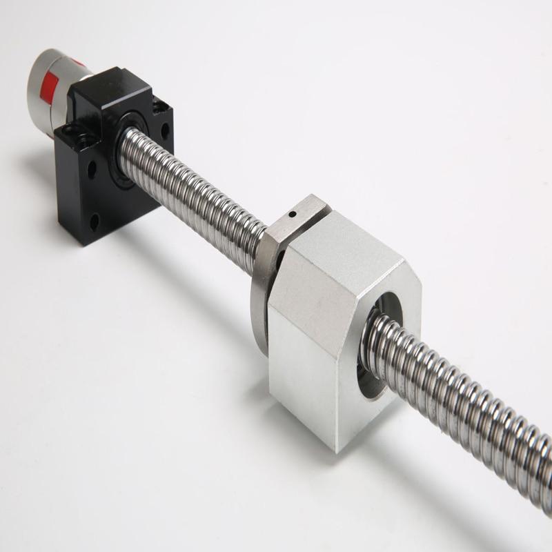 Ballscrew SFU2010 2005  250 300 350 400 450 500 550 600mm C7 With Flange Single Ball Nut BK/BF15 End Machined CNC