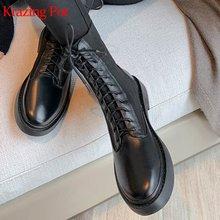 Сапоги krazing pot из натуральной кожи на низком каблуке с круглым