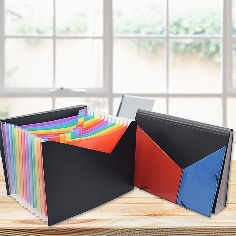 Adeeing File Holder Retractable Rainbow Clolor 13 Pockets A4 Rope Clasp File Holder With Cover For Student D20
