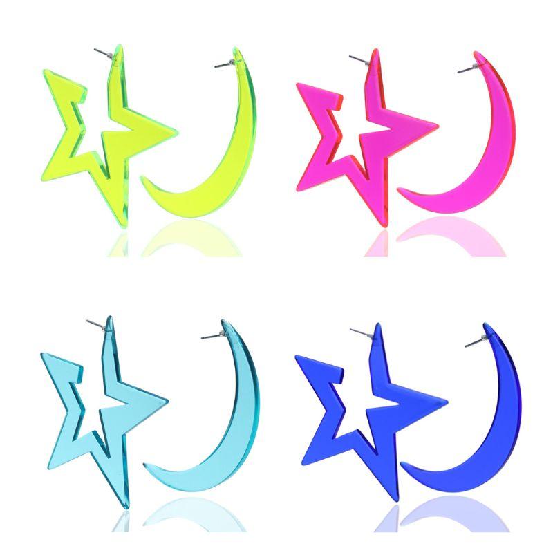 Acrylic Sparkling Halloween Funny Large Moon Star Stud Earrings Women Jewelry