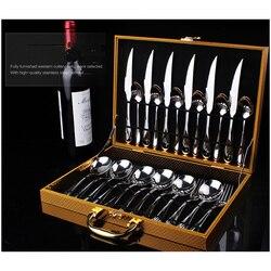 24 шт. Золотой/черный набор посуды из нержавеющей стали, столовый набор с подарочной коробкой, 3 стиля, нож и вилка, столовые приборы
