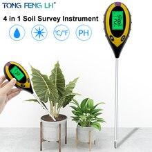 Colunas portáteis medir ph da terra, quatro em um testador de solo, instrumento de medição de temperatura