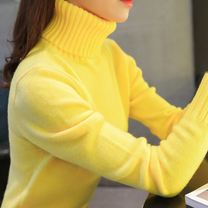 Short Sweater Pullovers Turtleneck Long-Sleeve Women Knitted Autumn Winter Slim Solid-Color