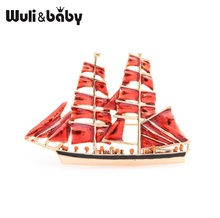 Wuli&baby Big Red Sailboat Brooches Women Alloy Enamel Boat Brooch Pins Gifts