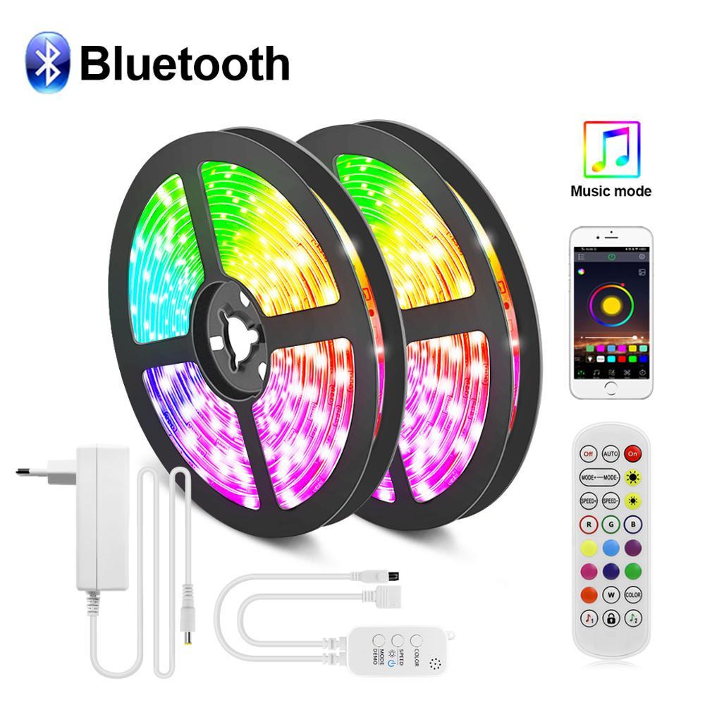 Светодиодная ленсветильник с Bluetooth 5050 SMD tira LED rgb 5 м 10 м 15 м музыкальное приложение гибкое управление tira de luces подсветильник ка украшение для д...