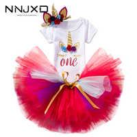 Vestido de unicornio para niña recién nacida, ropa de flores con diadema, vestido de fiesta de primer cumpleaños, bautismo