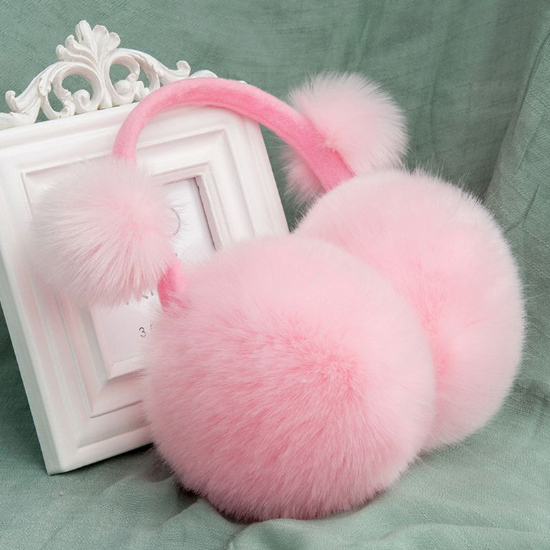 Kids Winter Cute Pompom Earmuffs Foldable Solid Color Ear Cover Warmer Headband M68A