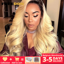 FREEDOM Supreme Free Parting Synthetic Lace Front Wigs Ombre Blond Wigs For Black Women High Temperature Wig Amazon HOT