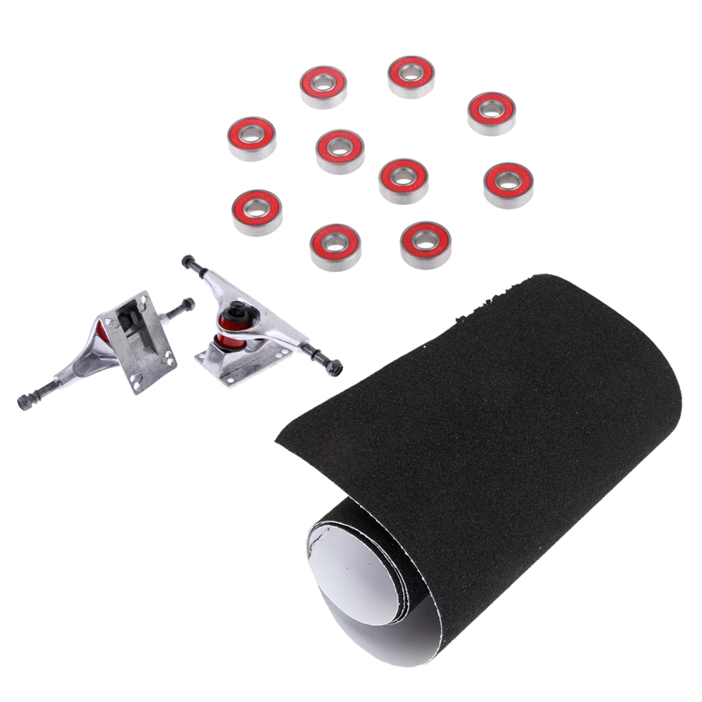 5' Aluminium Longboard Skateboard Trucks + 10 ABEC-7 Bearings + Grip Tape