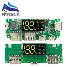 Módulo de carga banco de energía móvil USB 18650, placa de cargador de batería de litio, protección de circuito, LED, USB Dual, 5V, 2.4A, Micro/tipo-c