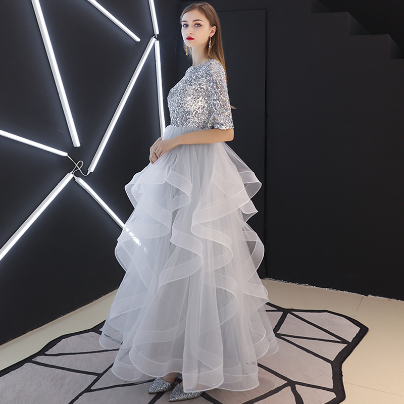 Evening Dress Women's 2019 Fashion Elegant Banquet Sequin Long Students Birthday Host Performance Aura Queen