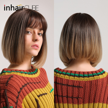 цена на Inhair Cube Synthetic Flat Bangs Women Wig Ombre with Highlight Straight Hair Bob Wig Cosplay Hairstyle Free Shipping