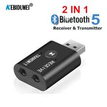 2 IN 1 Bluetooth 5.0 Audio Receiver Transmitter Adapter 3.5mm jack Aux Wireless Audio for Car Stereo Radio MP3 Player Earphones(China)