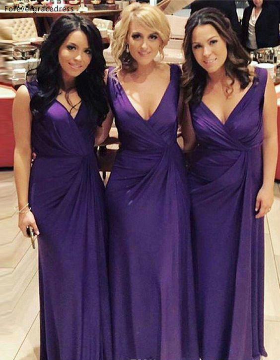 2019 Cheap Long Bridesmaid Dress Garden Country Formal Wedding Party Guest Maid Of Honor Gown Plus Size Custom Made